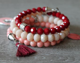 Wrap bracelet, Wraparmband, cameo pendant red, pink, beige, shell pendant, polished crystal glass bead, pink tassel, HAND MADE