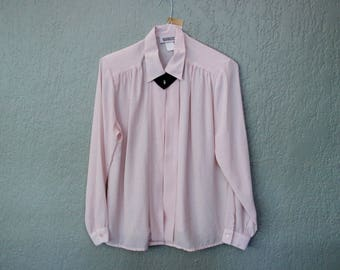 Vintage Pink Fancy Collar Top *Flat Rate Shipping* [Cute Vintage Top Shirt Blouse Women's Size 14 Large]