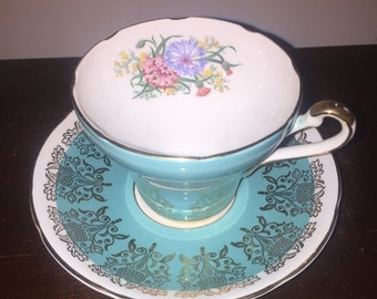 Royal Stafford vintage aqua blue teacup set