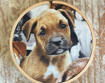 Mastiff X Puppy embroidery hoop wall hanging