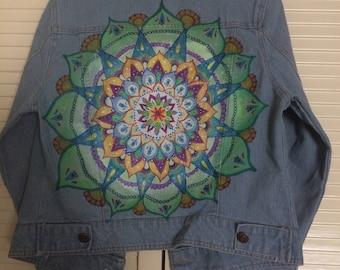 Handmade Mandala Design Denim Jacket