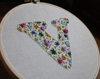 Floral Initial Embroidery - Floral Hoop Art - Hand Embroidered Initial - Personalized Initial Hoop - Embroidered Wall Art - Flower Letter