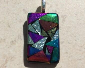 Dichroic Fused Glass Pendant - Rainbow Mosaic Pendant