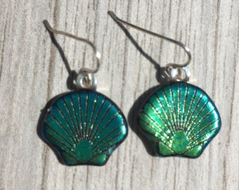 Dichroic Fused Glass Earrings - Teal Green Blue Scallop Shell Laser Engraved Etched Earrings with Solid Sterling Ear Wires