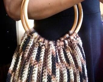 Brown camouflage Crochet Bamboo handle Bag