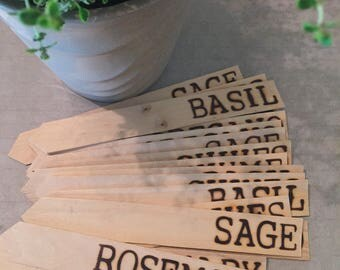 Herb Garden Markers Wood Burned Great Gift Idea - Rosemary - Sage- Thyme - Oregano - Chives - Basil