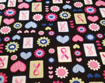 Awareness Fabric, Breast Cancer Awareness Fabric, Ribbon Fabric, Hearts/Dots/Flowers, Craft Supplies, Sewing Material, Fabric Yardage