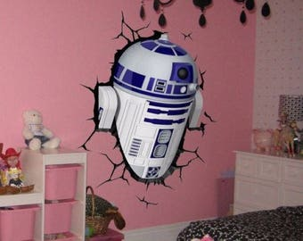 R2D2 Droid Robot Star Wars R2 D2 Color 3D Wall Decal Sticker Living Childrens  Kids Part 65