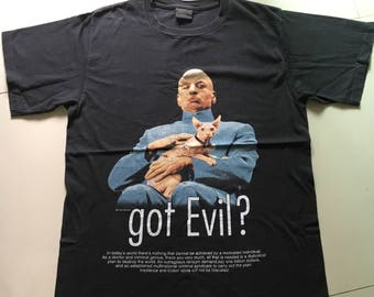 Vintage 90s Dr. Evil And Cat Mike Myers -Austin Powers -Got Evil -Movie Shirt (Size L) Free Shipping