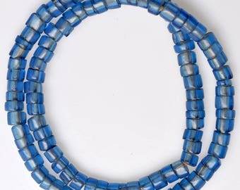 22 Inch Strand of Blue Venetian Glass Beads - Vintage African Trade Beads - C-76-14