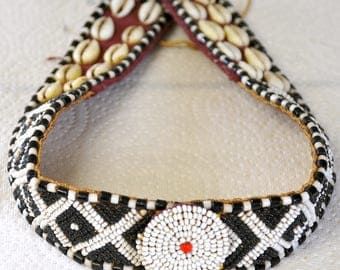 Vintage Beaded Kuba Headband with Cowrie Shells from Zaire, Africa - BW412