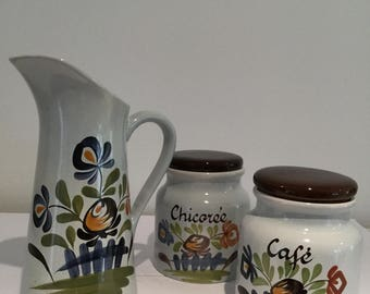 Pitcher and 2 jars earthenware Desvres Gabriel Fourmaintraux signs