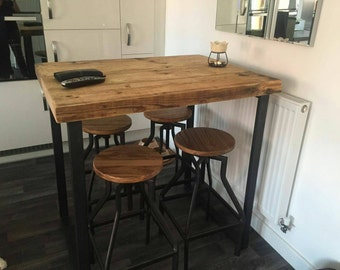 Industrial style tall bar table