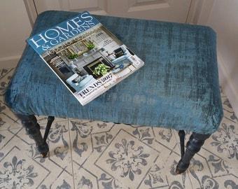 FOOTSTOOL - vintage wooden footstool, with teal velvet fabric, ottoman