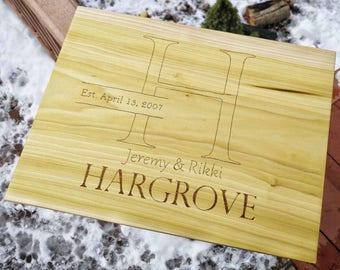 Monogram Board - Wood Anniversary Gift - Custom Cutting Board Wedding - Cutting Board Personalized - Wood Chopping Board