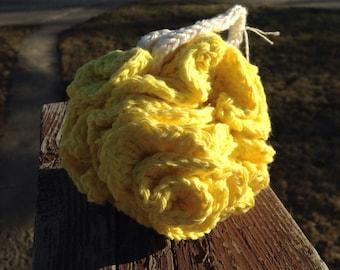 Yellow cotton bath pouf