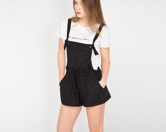 Black linen shorts. Women romper. Women shorts.