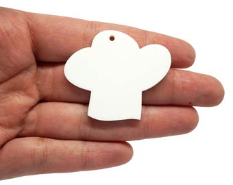 Chef hat jewellery supplies x5, Chef hat bijoux, Chefs hats necklace, Chef keyring, Chef chams, Chef hat lasercut wood plexiglas - SET 5 pz