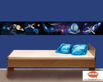 XXL Bordüre: Weltall   Bordüren für Kinder, Raumschiff, Raumstation, Planeten, Sterne, Sonne, Erde, Universum, Vliesbordüre, Wandborte