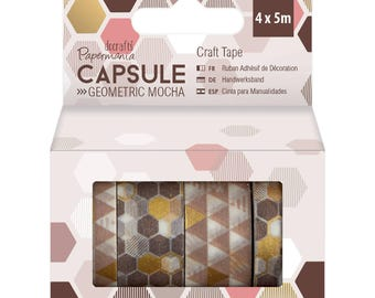 4 rolls of washi tape geometric Mocha 4x5m (DP-4)