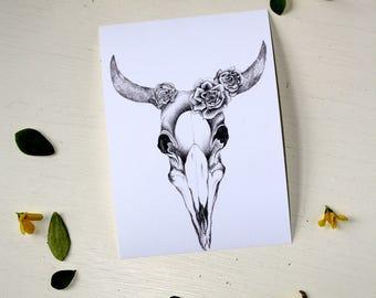 Animal Skull and Flower Illustration