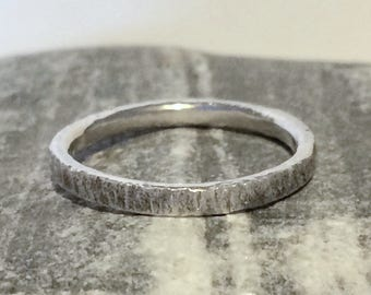 Beautiful textured hammered sterling silver stacking ring 3mm width choose size