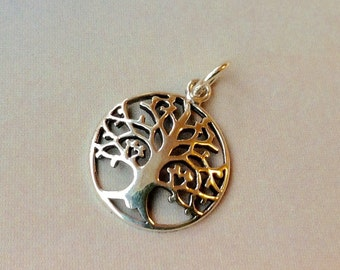 Tree of Life Pendant, Tree of Life Necklace, tree of life charm, 16mm round charm, sterling silver pendant, jewely supply