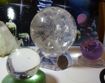 Clear Quartz Crystal Ball Rainbow Pattern.