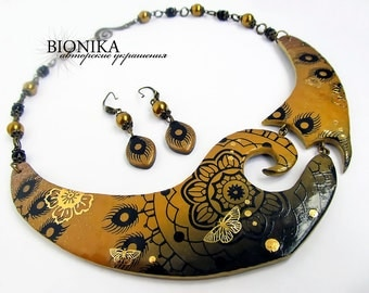 Ethnic Necklace Polymer Clay Boho Earring Jewelry set choker Golden Flowers Butterfly flower bib-necklace necklace pattern Holiday gift