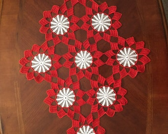 Made in Boston - Crotchet Doily for Coffee Table, Red and White with Intricate Pattern