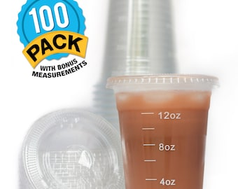 Clear Plastic 16 oz. Drinking Cups with Lids (100-Count Set) and White Measuring Portion Control Lines