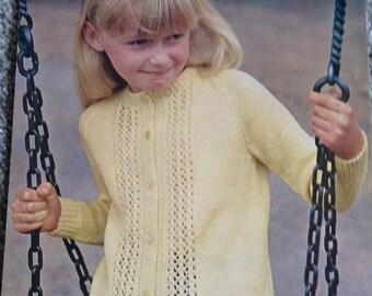 Vintage Wendy Girls Cardigan Knitting Pattern No. 950