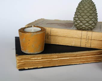 Concrete | candle holder gold
