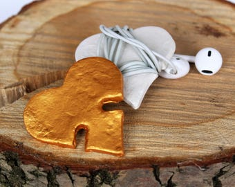 Clay heart | for storing your earphones