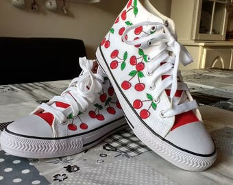 Cheerful hand painted sneakers with cherries size 38