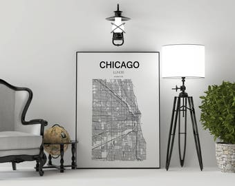 Chicago, Chicago Map Print, Chicago Map, Chicago Illinois Map, Illinois Map, United States Map Print, Chicago Illinois Black and White Map