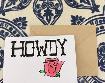 howdy card (red rose)
