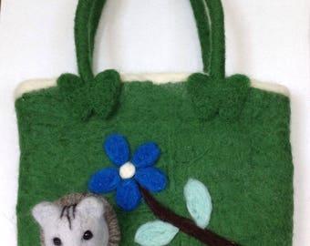 Needle felted handbag