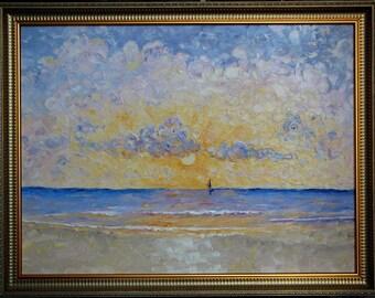 SEA SUNSET original oil canvas painting
