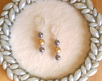 Gold and Tahitian Swarovski Crystal Pearls Sterling Silver Earrings
