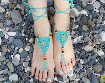 Barefoot sandals Beach party Foot accessory Crochet foot decoration Footless sandals Turquoise Orange