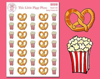 Popcorn and Pretzels Planner Stickers - Popcorn Stickers - Pretzels Stickers - Junk Food Stickers - Food - Planner Stickers - [Food 1-01]