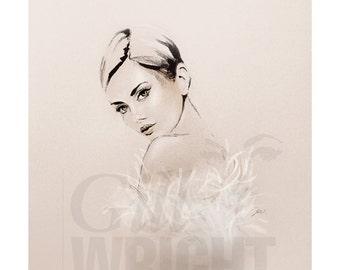 Fashion Illustration 'White Feathers', 30cm square