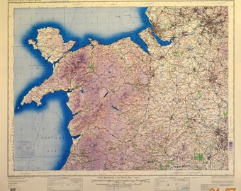 Original WWII Map of North Wales and Manchester, England. 1943, U.S. War Office.