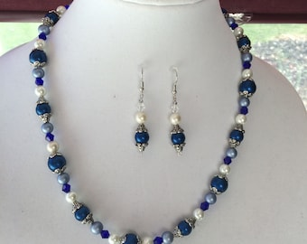 Stunning Blue, Gray, White Pearl Necklace W/Matching Earrings,one of a kind set,mother of the bride, graduation