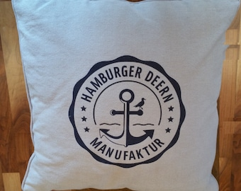 Cotton pillow with removable cover and the Hamburger Deern flock Manufactory