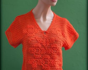 Orange crochet sweater / knit women top / orange / vintage
