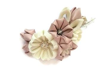 Ivory flower, bridal hair clip, bridal hair piece, mother of the bride, wedding gift, wedding hair piece, rustic wedding, flower hair clip