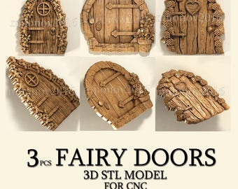 3 pcs 3d stl models fairy doors for cnc router