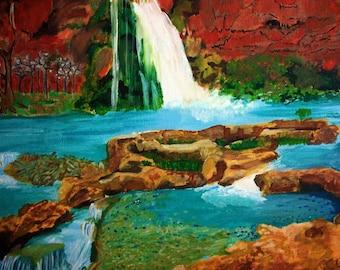 Havasupai Falls, Grand Canyon. 14x11